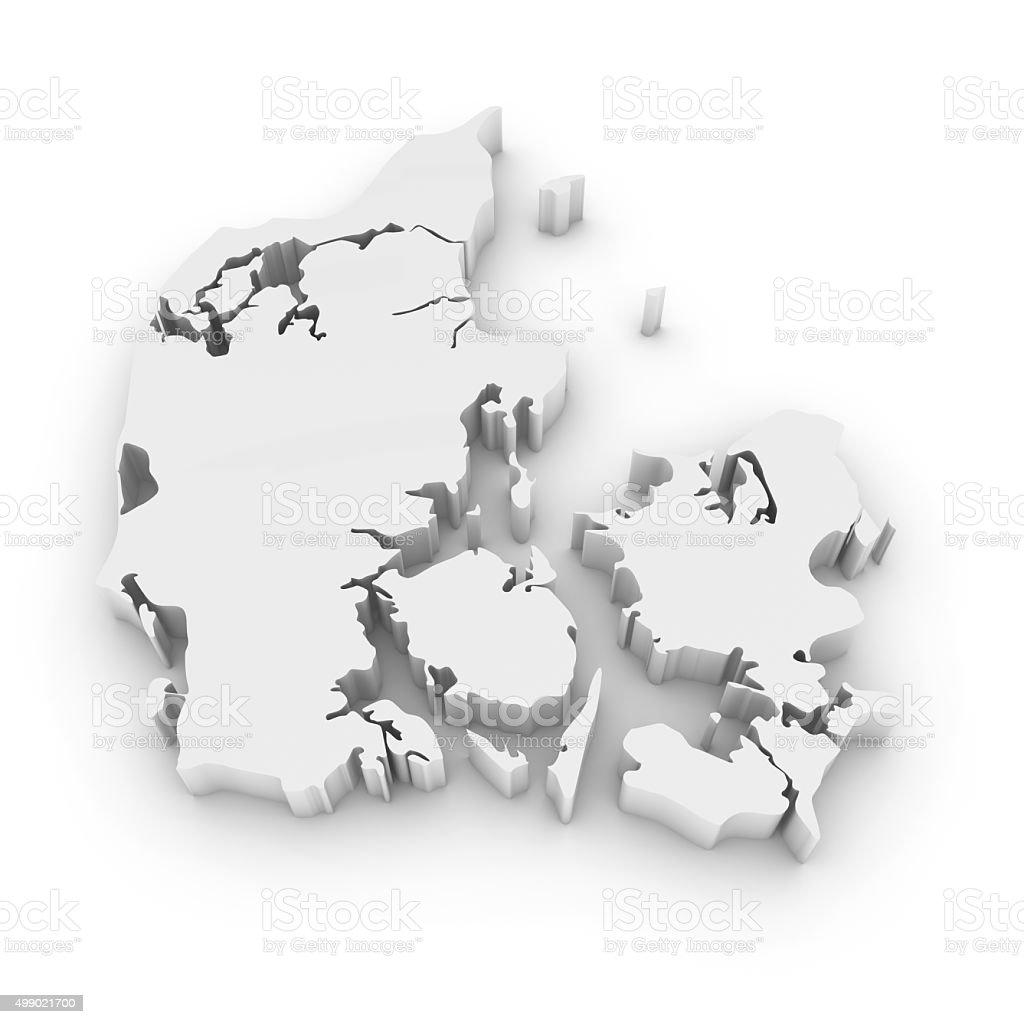 White 3D Outline of Denmark Isolated on White stock photo