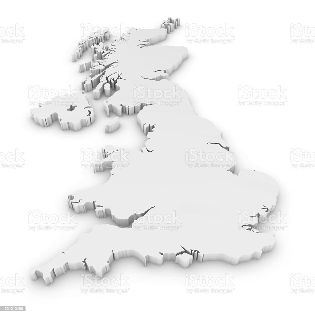 White 3D Outline of the United Kingdom Isolated on White stock photo