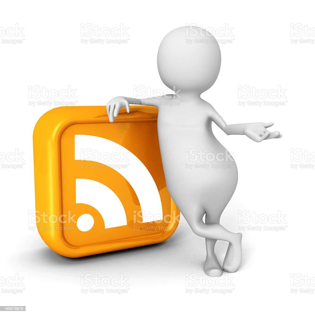 White 3d Person With Orange RSS Icon stock photo