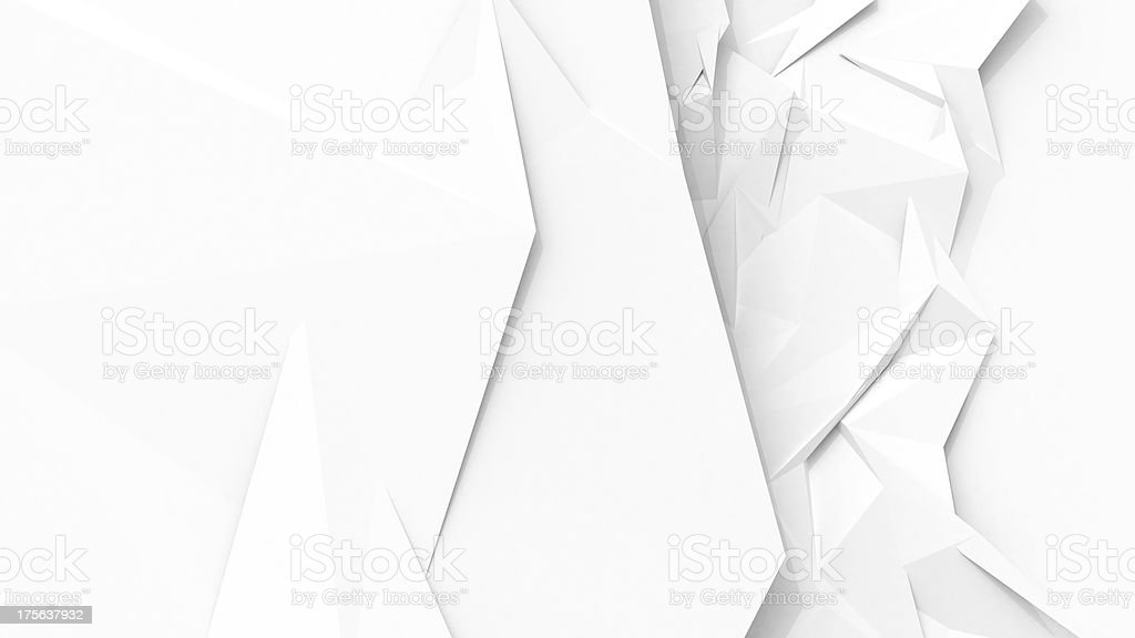 White abstract geometric background with sharp polygon surface stock photo