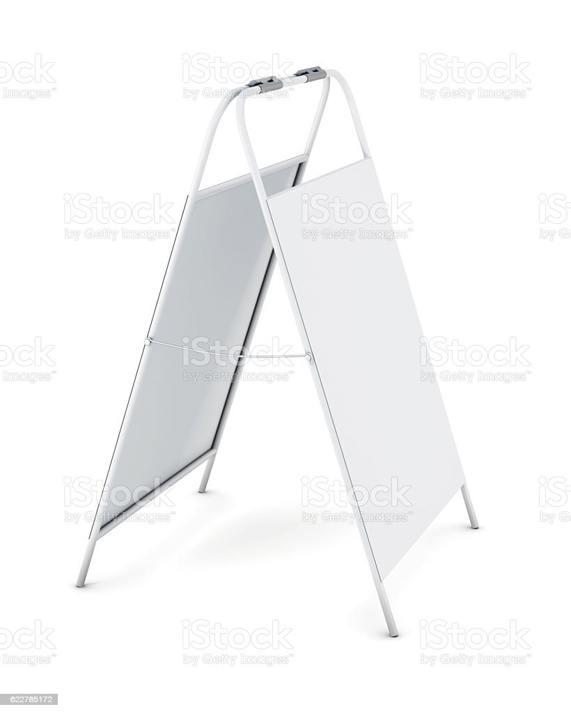 White advertising stand isolated on white background. 3d renderi stock photo