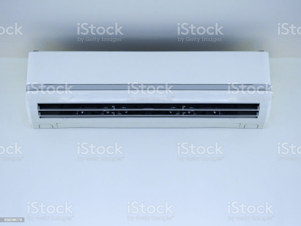 White Air conditioner on wall background stock photo