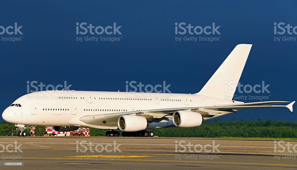 White Airbus 380-800 stock photo