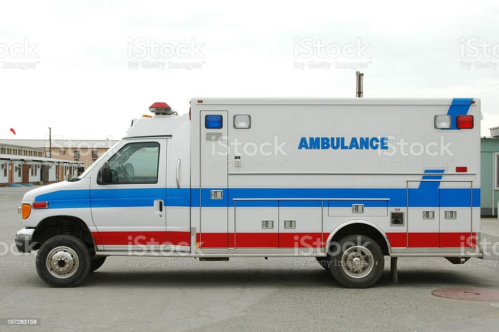White ambulance with red and blue stripes royalty-free stock photo