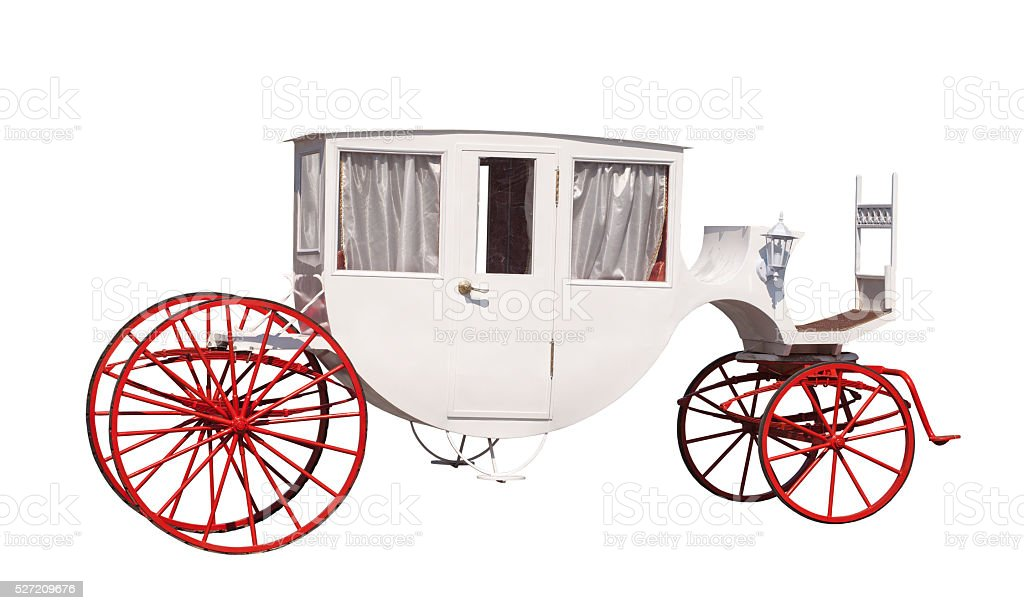 White ancient carriage with red wheels stock photo
