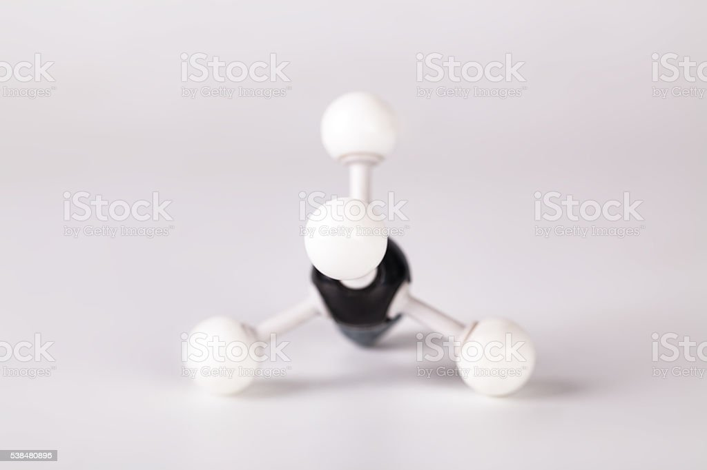 white and black ball molecular structure of methane stock photo
