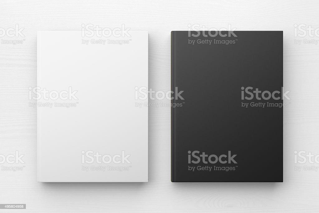 White and black books, mock up stock photo