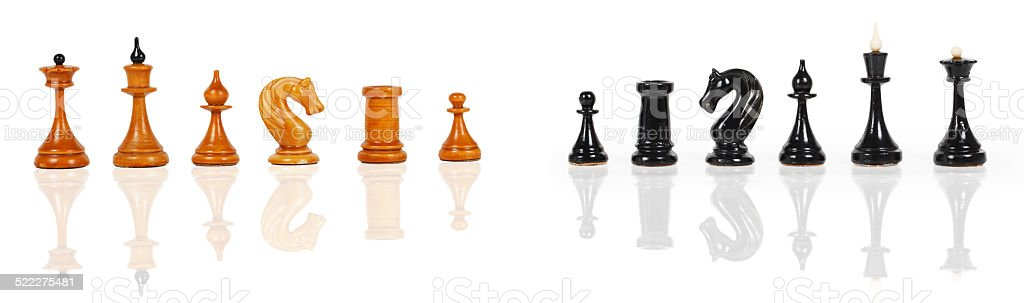 White and black chess figures stock photo
