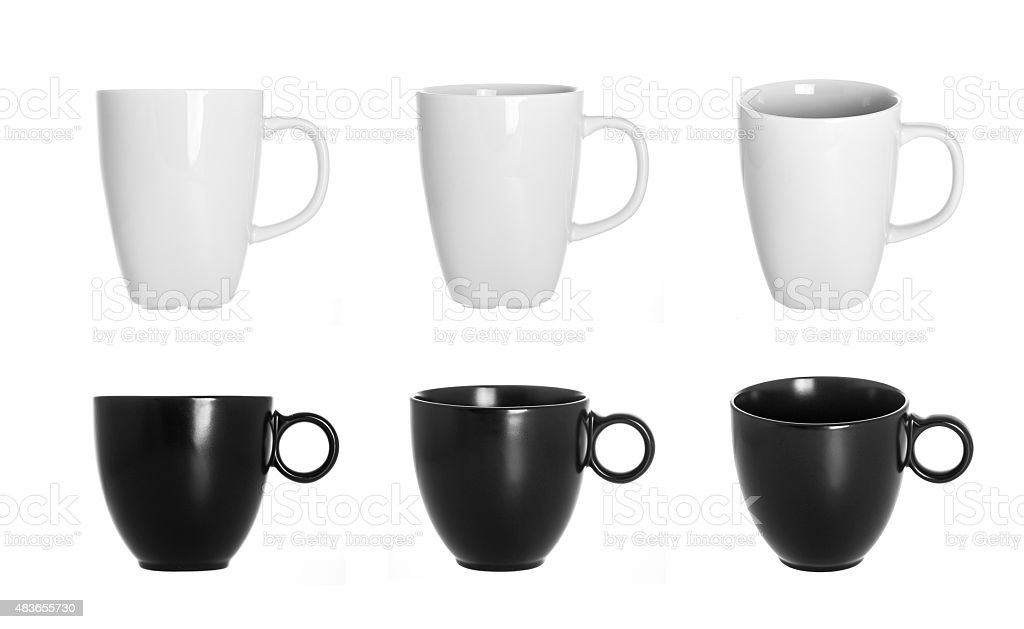 white and black cups isolated on white background stock photo