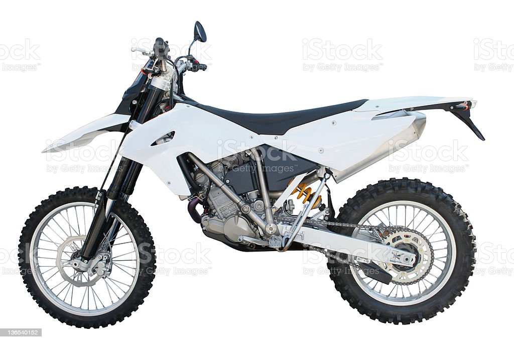 White and black dirt bike over a white backgound stock photo