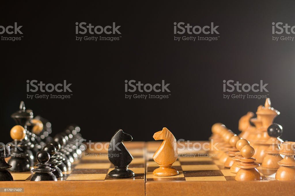 White and black knights in the chess board stock photo