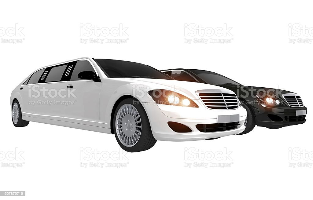 White and Black Limos stock photo