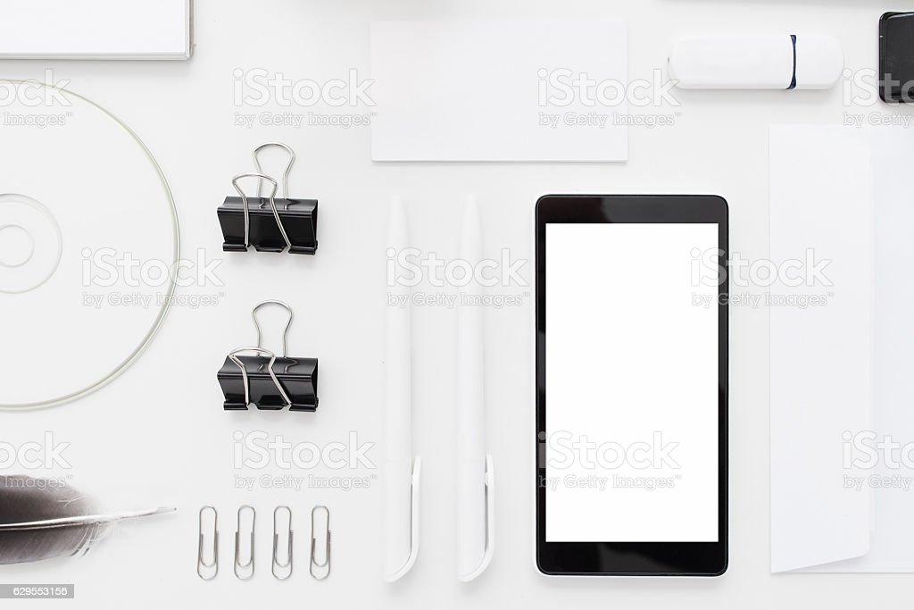 White and black memory devices flat lay stock photo