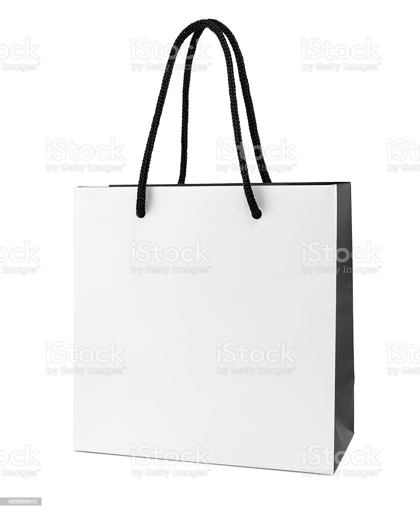 White and black paper shopping bag stock photo