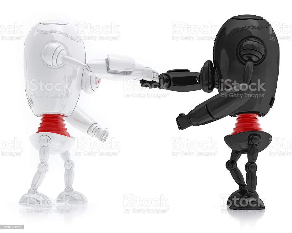 White and Black Robots Friendship, Isolated On White background stock photo