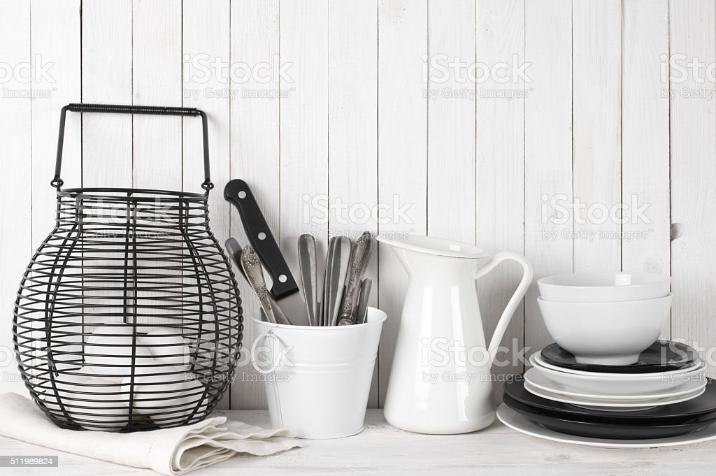 White and black rustic still life stock photo