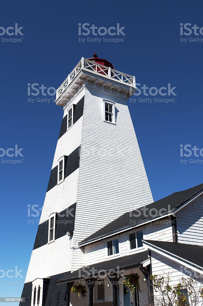 white and black square lighthouse against clear blue sky stock photo
