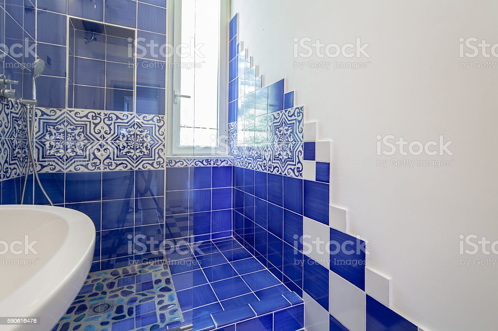 White and Blue Bathroom stock photo