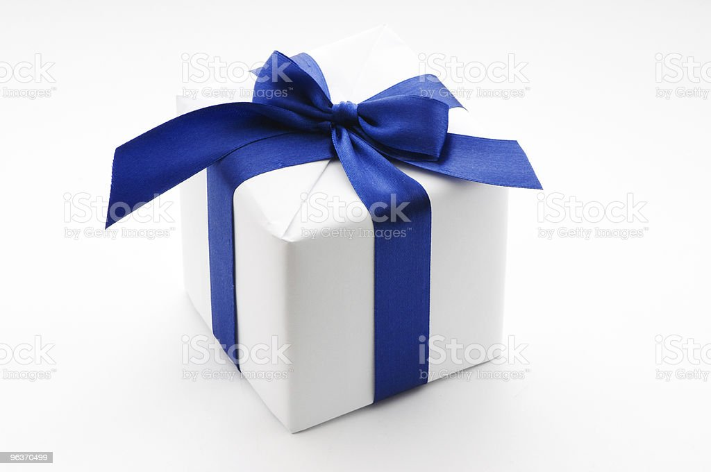 White and blue gift wrapped box royalty-free stock photo