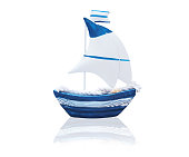 White and blue sailboat toy