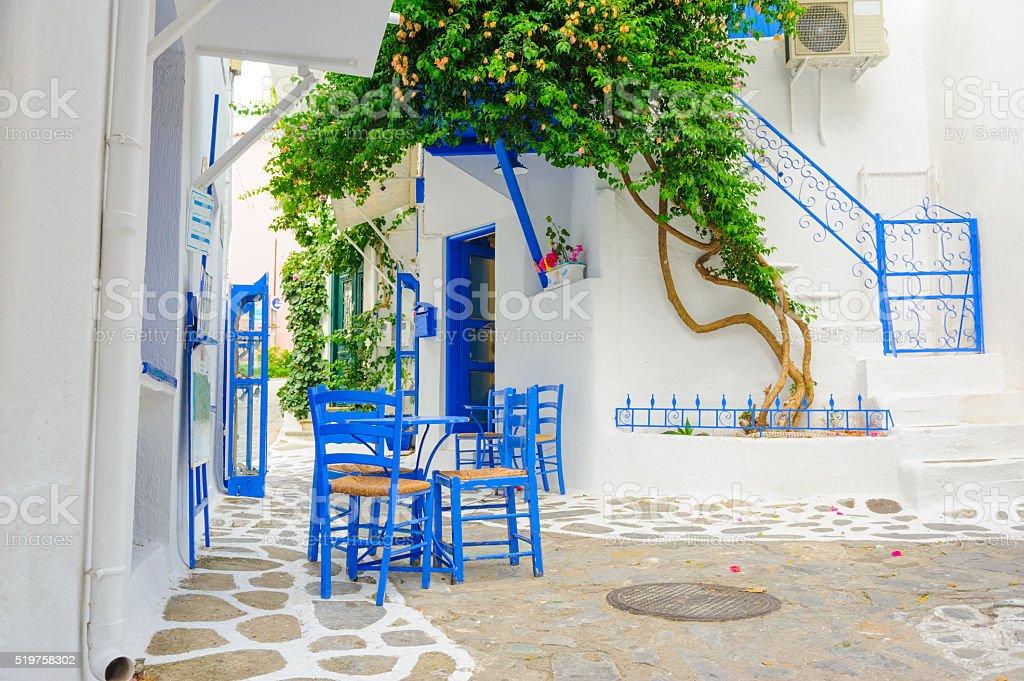 White and Blue Street of Skiathos, Greece stock photo
