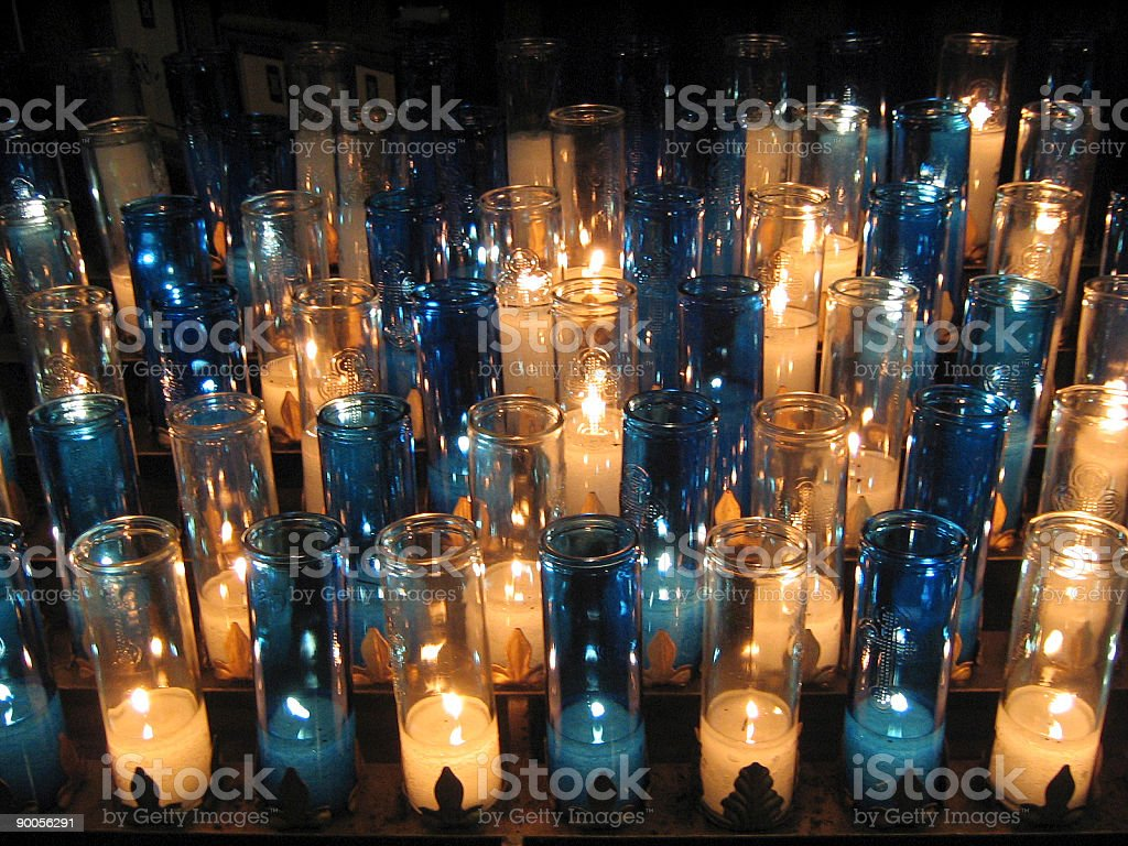 White and Blue Votive Candles royalty-free stock photo