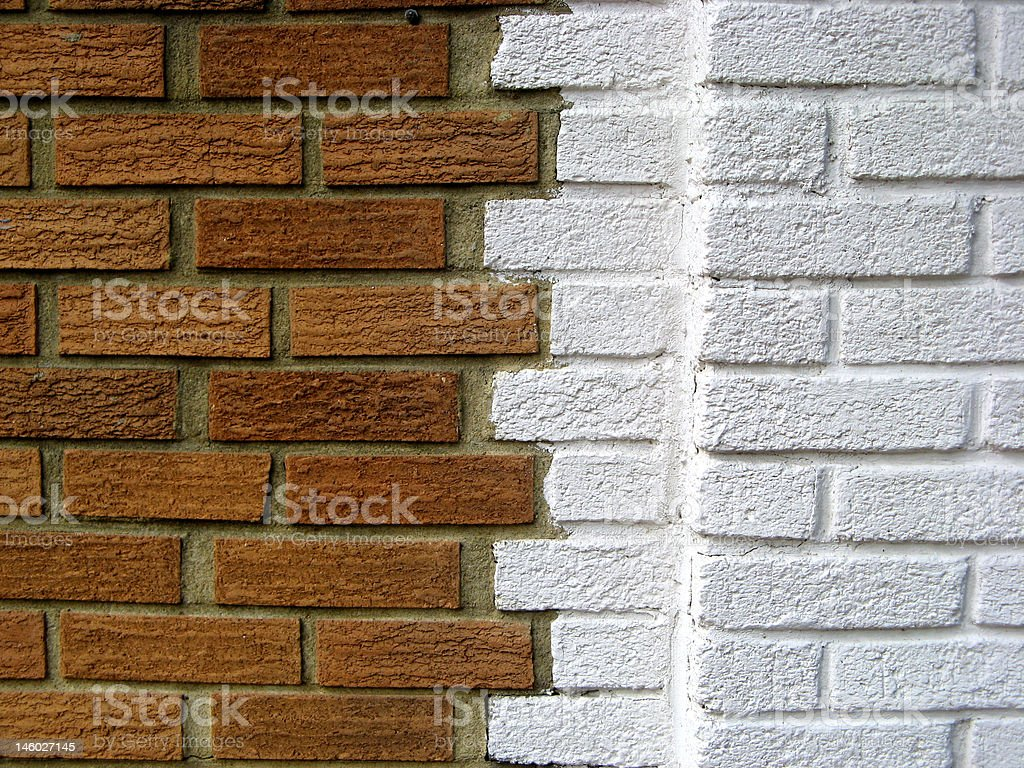 White and Brown Color Brick Wall stock photo