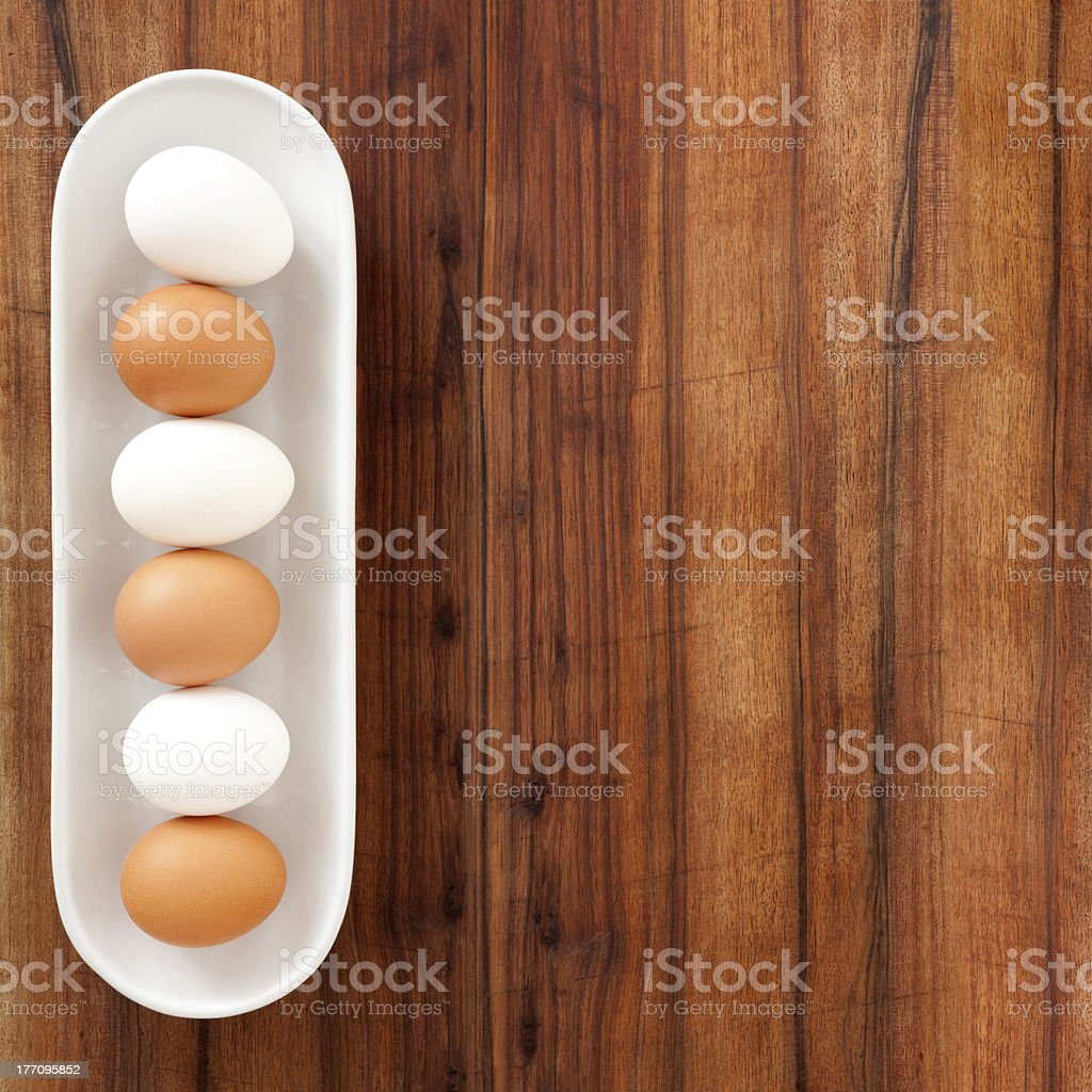 White and brown eggs royalty-free stock photo