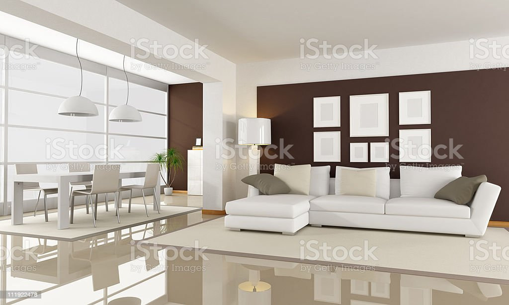 white and brown living room royalty-free stock photo