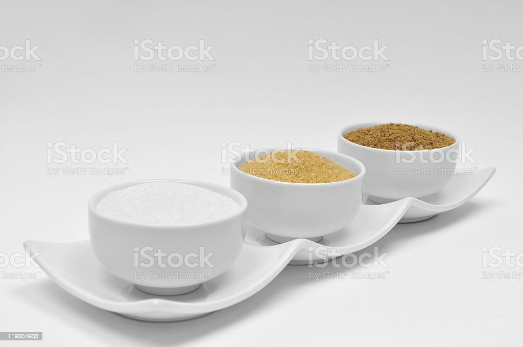 White and Brown Sugar in Bowls royalty-free stock photo
