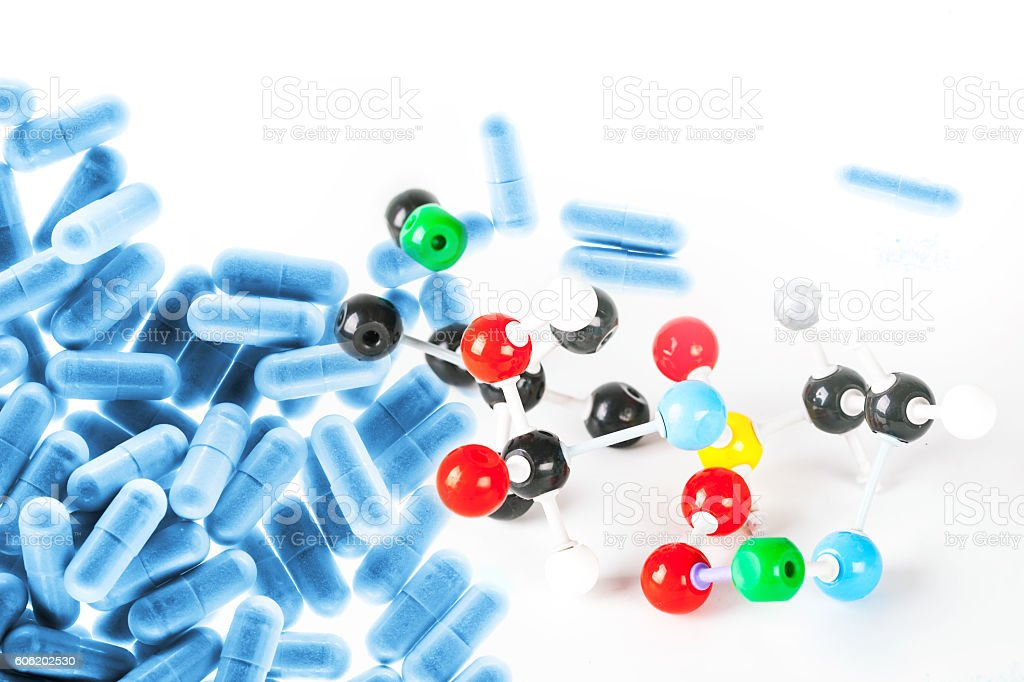 white and color ball molecular structure stock photo