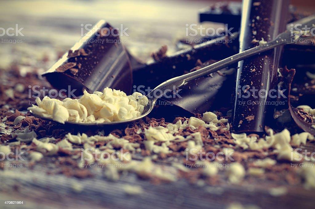 White and dark chocolate stock photo