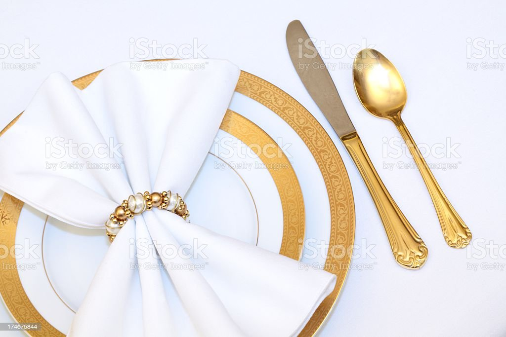 White and gold Elegant Place Setting royalty-free stock photo