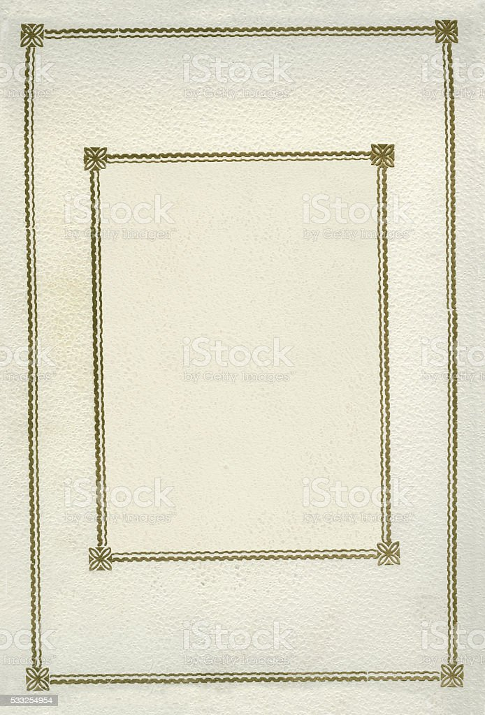 White and gold leather cover stock photo