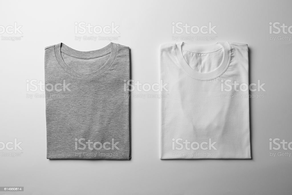 White and Gray folded T-Shirt Mock-up stock photo