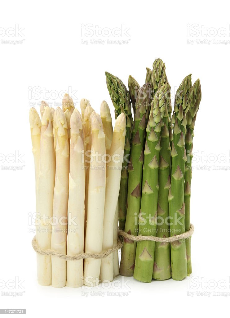 White and green asparagus stock photo