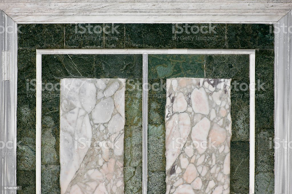 White and Green Geometric Marbles in Firenze, Italy stock photo