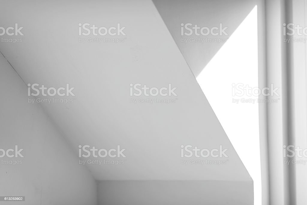 white and grey architecture detail - sunlight on roof part stock photo