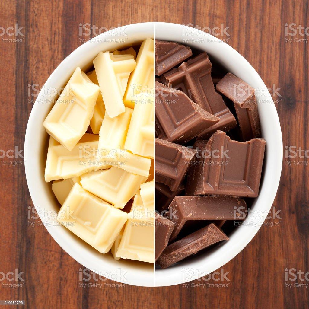 White and milk chocolate blocks stock photo