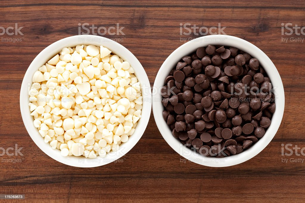 White and milk chocolate chips royalty-free stock photo