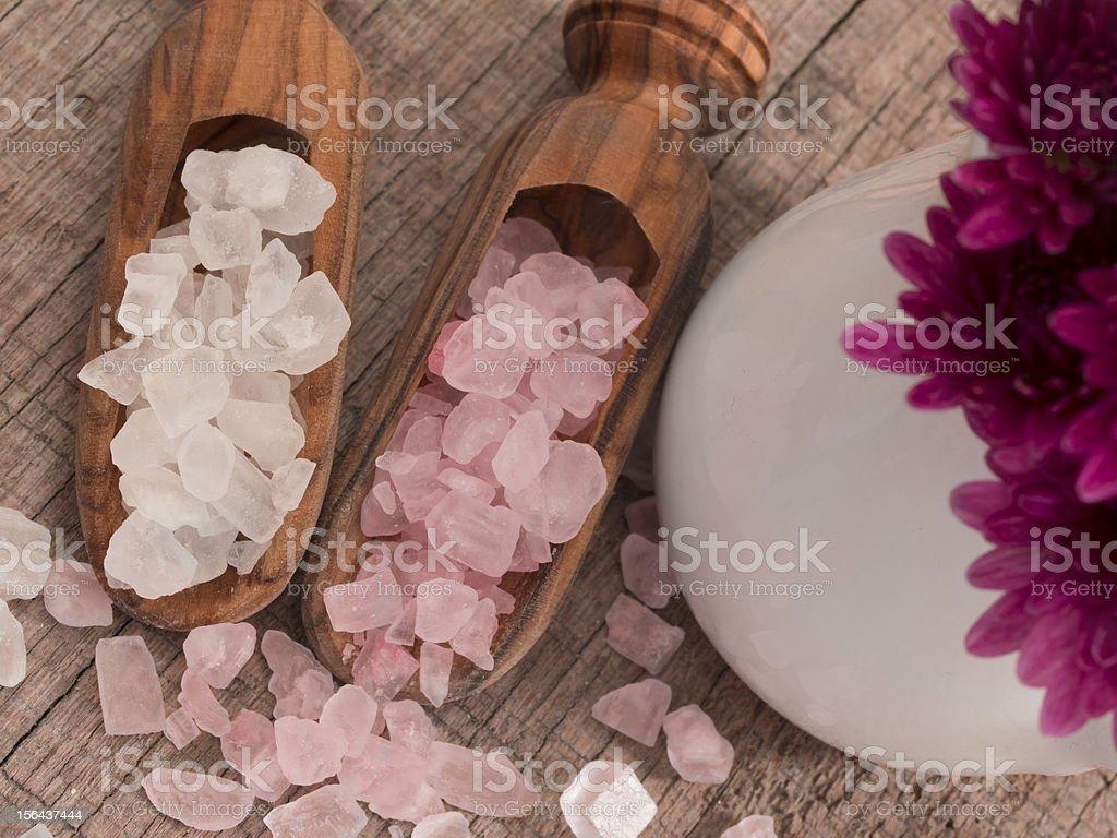 white and pink bathing salt royalty-free stock photo