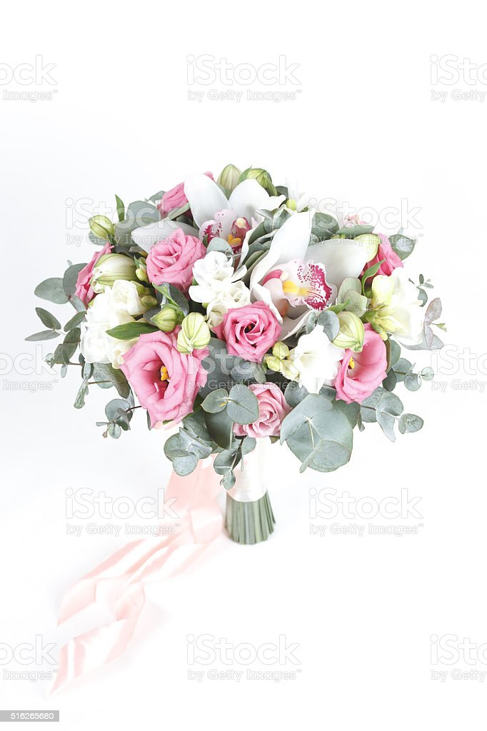 White and pink bridal bouquet isolated on white background stock photo