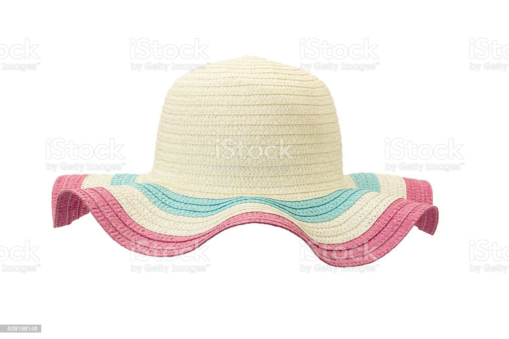 white and pink floppy hat stock photo
