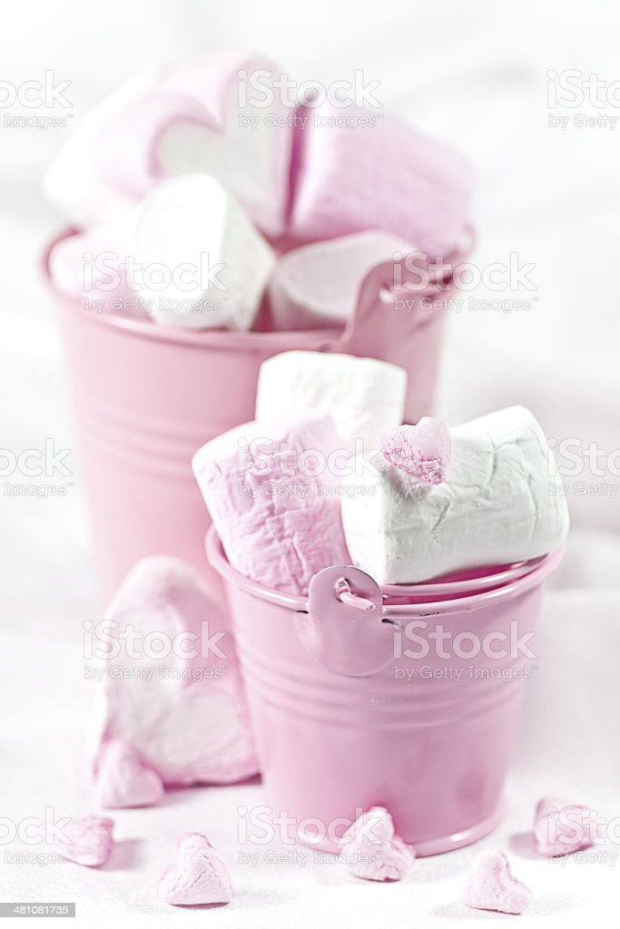 White and pink marsmallow in buckets stock photo