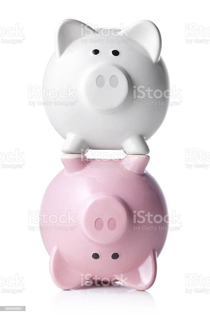 White and pink piggy bank stock photo