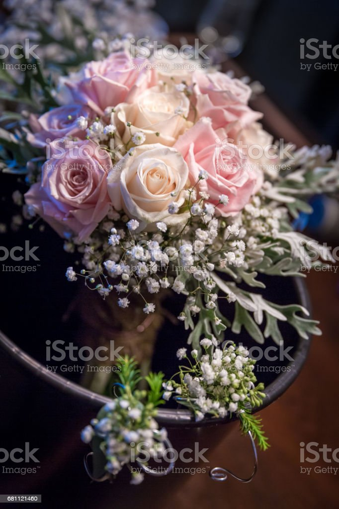 White and Pink Roses Bouquet in a Jar stock photo