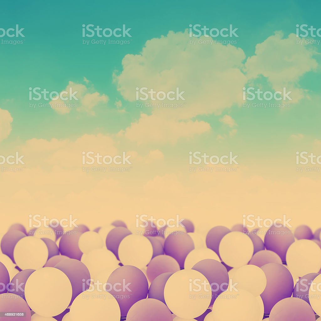 white and purple balloons stock photo