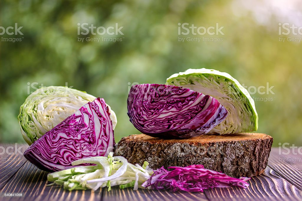 white and red cabbage and  chopped white and red cabbage stock photo
