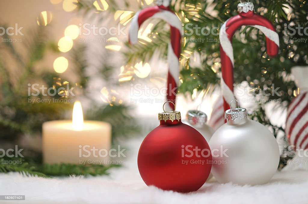 White and Red Christmas Balls royalty-free stock photo