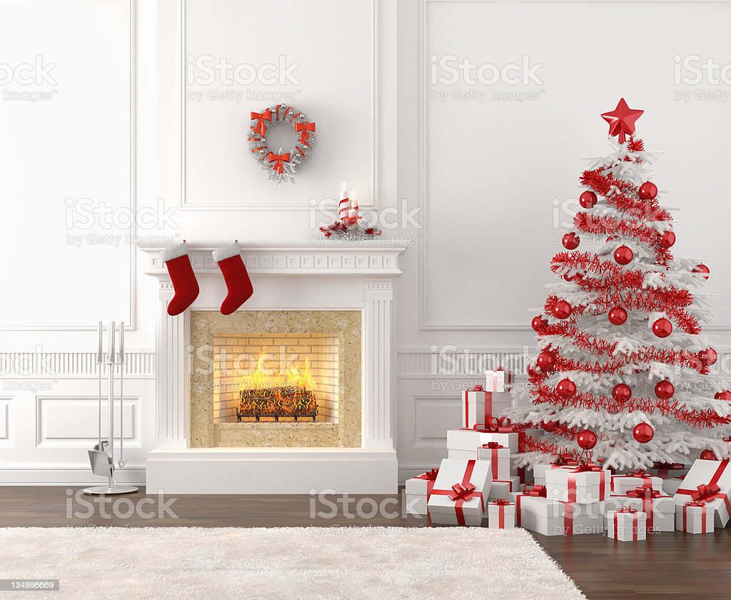white and red christmas fireplace interior stock photo
